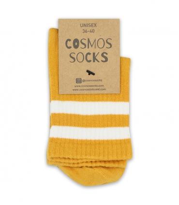 جوراب نیم ساق Cosmos کازموس طرح دو خط پرتقالی سفید