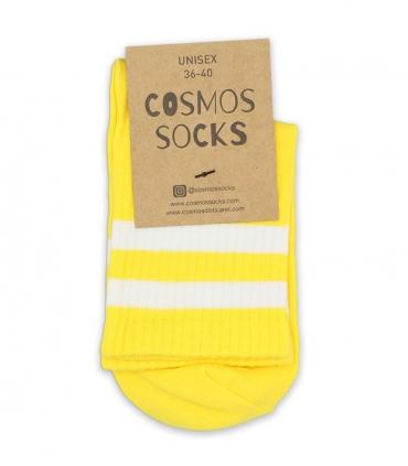 جوراب نیم ساق Cosmos کازموس طرح دو خط زرد سفید
