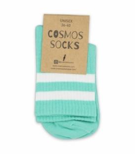 جوراب نیم ساق Cosmos کازموس طرح دو خط نعنایی سفید