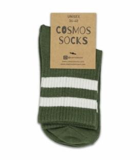 جوراب نیم ساق Cosmos کازموس طرح دو خط سبز سفید