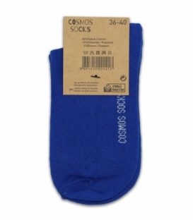 جوراب نیم ساق Cosmos کازموس طرح دو خط آبی سفید