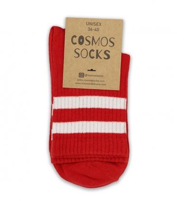 جوراب نیم ساق Cosmos کازموس طرح دو خط قرمز سفید