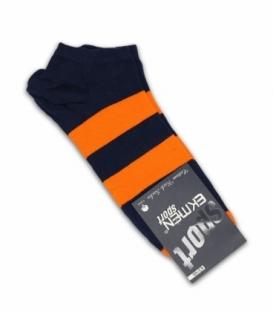جوراب مچی Ekmen اکمن طرح دو خط سرمهای نارنجی