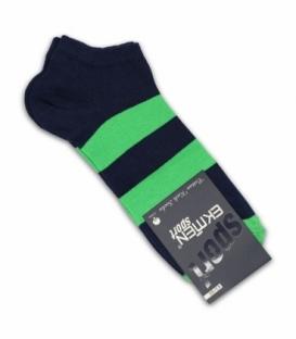 جوراب مچی Ekmen اکمن طرح دو خط سرمهای سبز