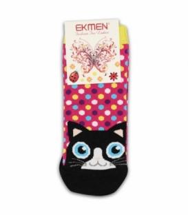 جوراب مچی Ekmen اکمن طرح گربه خال خالی صورتی
