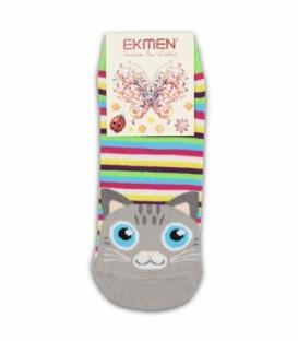 جوراب مچی Ekmen اکمن طرح گربه راه راه رنگارنگ