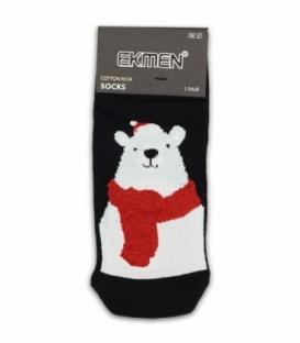 جوراب مچی Ekmen اکمن کف طرح دار خرس کریسمس مشکی
