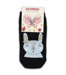 جوراب مچی Ekmen اکمن کف طرح دار خرگوش بامزه مشکی