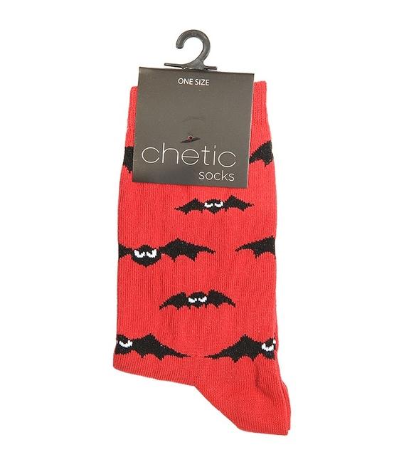 جوراب ساق دار Chetic چتیک طرح خفاش قرمز