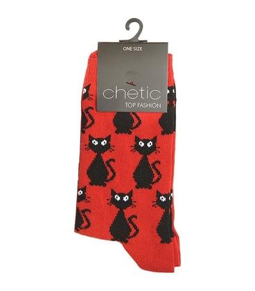 جوراب ساق دار Chetic طرح گربه قرمز