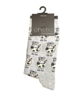 جوراب ساق دار Chetic چتیک طرح گاو آبی روشن