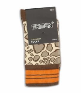 جوراب ساقدار Ekmen اکمن طرح پلنگی قهوهای