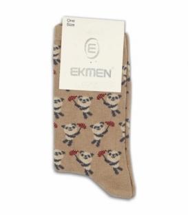 جوراب ساقدار Ekmen اکمن طرح پاندای چتردار قهوهای روشن