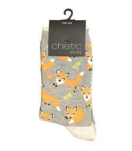 جوراب Chetic چتیک طرح روباه خوشحال خاکستری