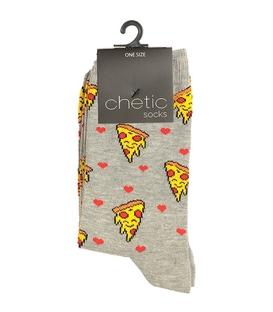 جوراب ساق دار Chetic چتیک طرح عشق پیتزا خاکستری