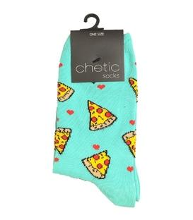 جوراب ساقدار Chetic چتیک طرح عشق پیتزا سبز آبی