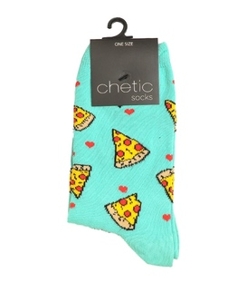 جوراب ساق دار Chetic چتیک طرح عشق پیتزا سبز آبی