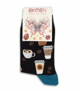 جوراب ساقدار Ekmen اکمن طرح قهوه مشکی