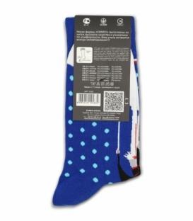 جوراب ساقدار Ekmen اکمن طرح شاتل فضایی خال خالی آبی