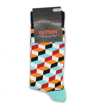 جوراب ساقدار Ekmen اکمن طرح سه بعدی رنگارنگ