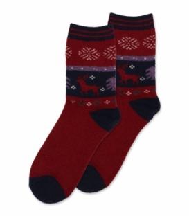 جوراب پشمی حولهای Coco & Hana ساقدار طرح گوزن قرمز