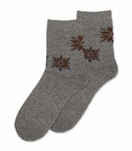 جوراب پشمی حولهای Coco & Hana ساقدار طرح برف هندسی خاکستری