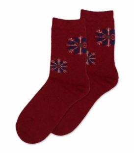 جوراب پشمی حولهای Coco & Hana ساقدار طرح برف هندسی قرمز