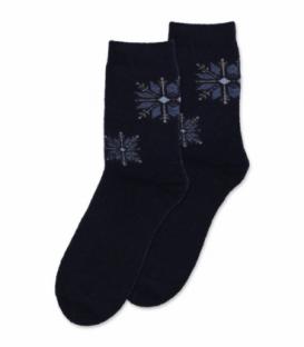 جوراب پشمی حولهای Coco & Hana ساقدار طرح برف هندسی سرمهای