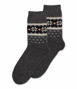 جوراب پشمی حولهای Coco & Hana ساقدار طرح برف و شکوفه A دودی