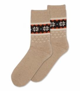 جوراب پشمی حولهای Coco & Hana ساقدار طرح برف و شکوفه A کرم