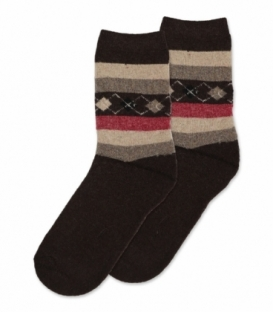 جوراب پشمی حولهای Coco & Hana ساقدار طرح لوزی و خط قهوهای