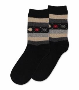 جوراب پشمی حولهای Coco & Hana ساقدار طرح لوزی و خط مشکی