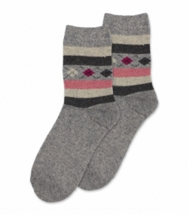 جوراب پشمی حولهای Coco & Hana ساقدار طرح لوزی و خط خاکستری