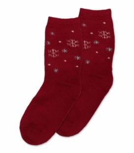 جوراب پشمی حولهای Coco & Hana ساقدار طرح برف درشت و ریز قرمز