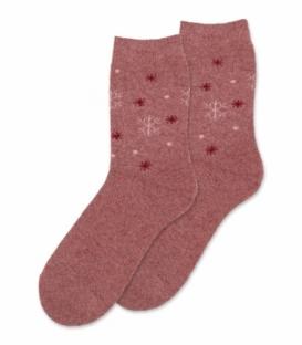 جوراب پشمی حولهای Coco & Hana ساقدار طرح برف درشت و ریز گلبهی