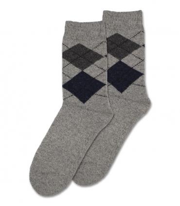 جوراب پشمی حولهای Coco & Hana ساقدار طرح آرگایل خاکستری