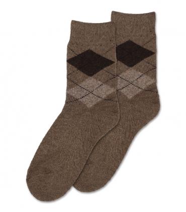 جوراب پشمی حولهای Coco & Hana ساقدار طرح آرگایل کرم