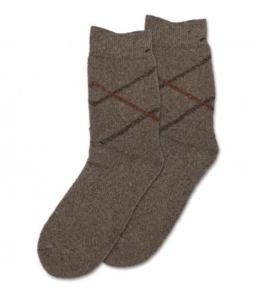 جوراب پشمی حولهای Coco & Hana ساقدار طرح خط مورب قهوهای روشن
