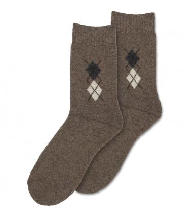 جوراب پشمی حولهای Coco & Hana ساقدار طرح لوزی کوچک قهوهای روشن