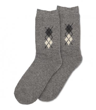 جوراب پشمی حولهای Coco & Hana ساقدار طرح لوزی کوچک خاکستری