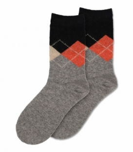 جوراب پشمی Coco & Hana ساقدار طرح آرگایل خاکستری روشن