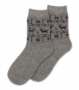 جوراب پشمی Coco & Hana ساقدار طرح گوزن و برف خاکستری
