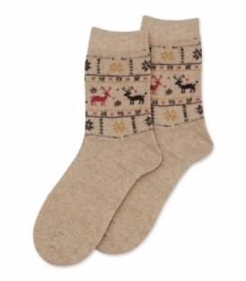 جوراب پشمی Coco & Hana ساقدار طرح گوزن و برف کرم
