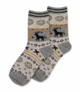 جوراب پشمی Coco & Hana ساقدار طرح گوزن هندسی خاکستری