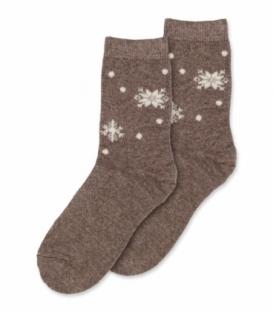 جوراب پشمی Coco & Hana ساقدار طرح دانه برف قهوهای روشن