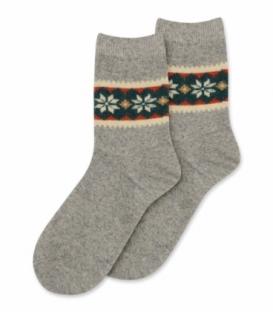 جوراب پشمی Coco & Hana ساقدار طرح برف و شکوفه B خاکستری