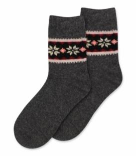 جوراب پشمی Coco & Hana ساقدار طرح برف و شکوفه B دودی
