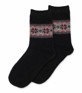جوراب پشمی Coco & Hana ساقدار طرح برف و شکوفه B مشکی