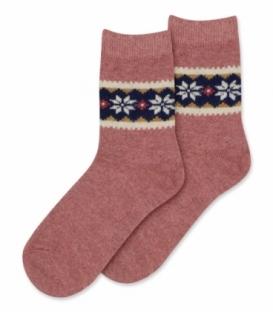جوراب پشمی Coco & Hana ساقدار طرح برف و شکوفه B گلبهی