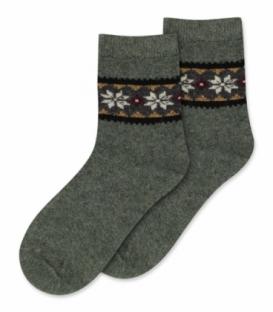 جوراب پشمی Coco & Hana ساقدار طرح برف و شکوفه B سدری